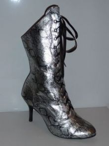 MOULIN ROUGE SILVER SNAKE BOOTS 4UK
